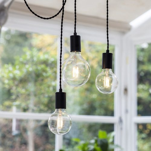 Soho 3 Light Pendant in Black