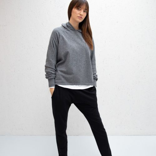 Super Soft Knitted Lounge Hoodie – Charcoal