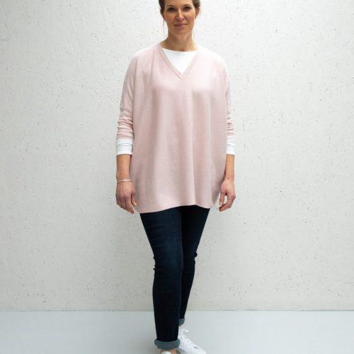 Clara V Neck Jumper - Pink