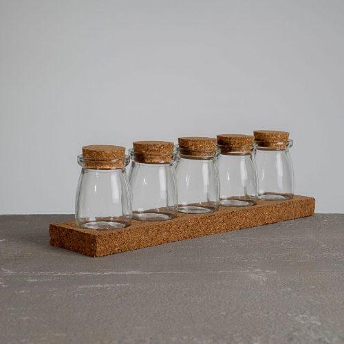 Cork Rack with Five Jars