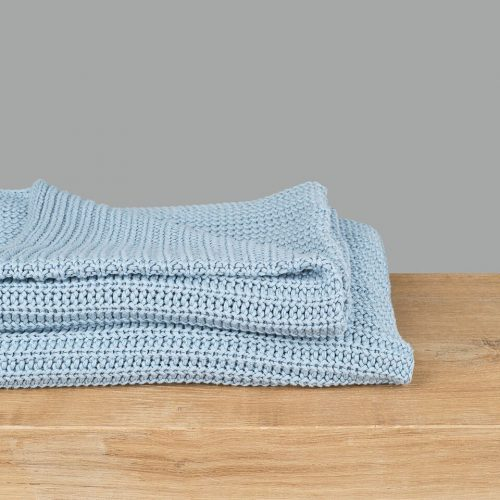 Soft Blue Knitted Throw