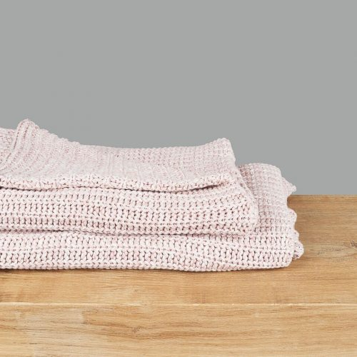 Soft Pink Knitted Throw