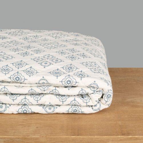Blue Tiled Pattern Quilt