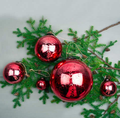 Etched Snowflake Red Bauble