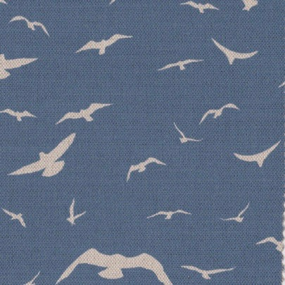 Seagulls Delft Blue Background on Oatmeal