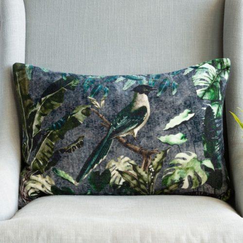 Velvet Cushion - Forest Bird