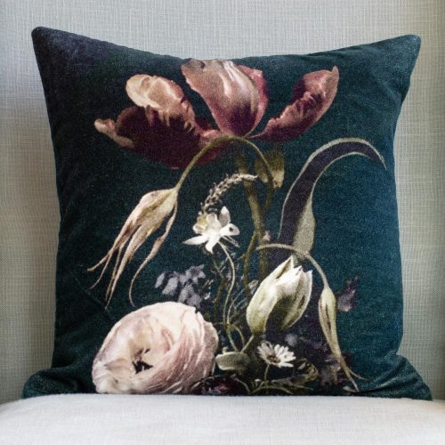 Velvet Cushion - Vintage Flowers