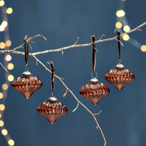 Burnt Amber Ribbed Baubles
